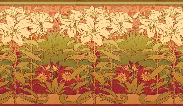 Group of Art Nouveau Lilies Wallpaper