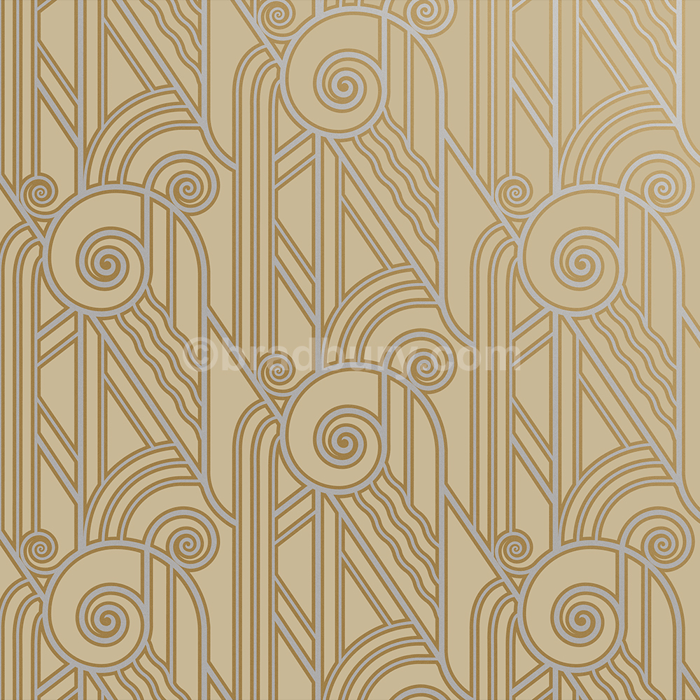 Bradbury Retro Wallpaper Art Deco Volute Wallpaper In Oyster