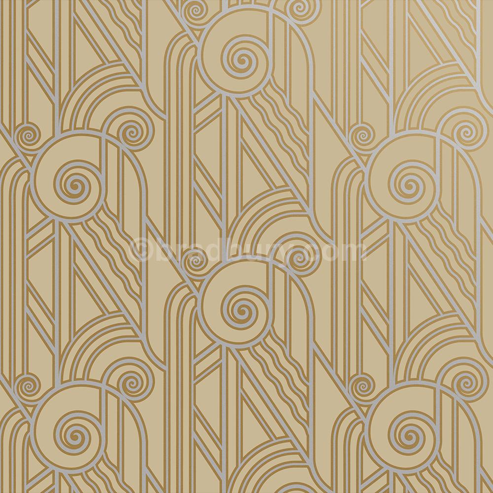 Bradbury Retro Wallpaper Art Deco Volute Wallpaper In Oyster